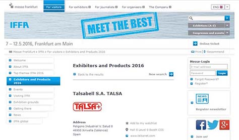 Talsa, present in the next IFFA Frankfurt Fair